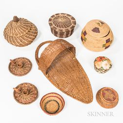 Eight Southwest and California Basketry Items