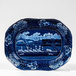 "Staffordshire Historical Blue Transfer-decorated ""Landing of Lafayette"" Platter"