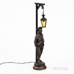 White Metal Figural Lamp