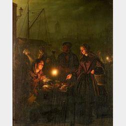 Petrus van Schendel (Belgian, 1806-1870)  Market at Night, Amsterdam