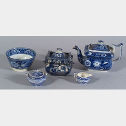 Five Assorted Blue and White Transfer Decorated Staffordshire Pottery Table Items
