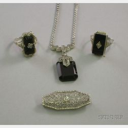 Three Art Deco 14kt White Gold and Onyx Jewelry Items