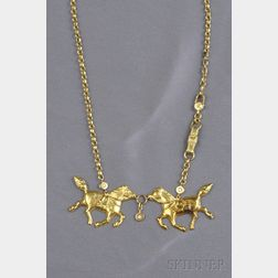 18kt Gold and Diamond Horse Necklace, Roberta di Camerino, Italy