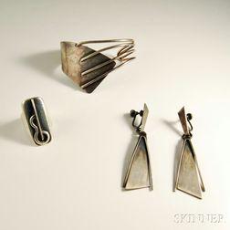 Paul Lobel Sterling Silver Bracelet, Ring, and Earpendants