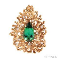 18kt Gold, Green Tourmaline, and Diamond Pendant/Brooch, Alan Gard