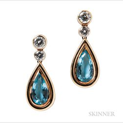 18kt Gold, Aquamarine, and Diamond Earrings