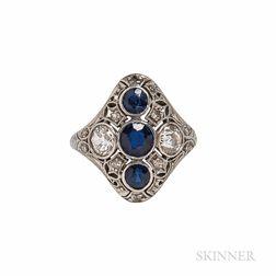 Art Deco Platinum, Sapphire, and Diamond Ring