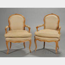 Pair of Louis XV Style Beechwood Fauteuils en Cabriolet