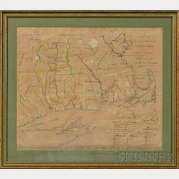 Schoolboy Map of Massachusetts, Rhode Island & Connecticut Bay