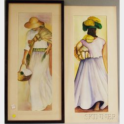 Three Framed Works on Paper:       Robert Pennor (American, b. 1945), Scythe and Jacket