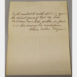 William Cullen Bryant Signed Handwritten Verse