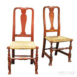 Two Queen Anne Red-painted Rush-seat Side Chairs