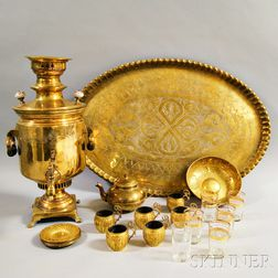 Russian Brass Samovar with Engraved Tray and Cups