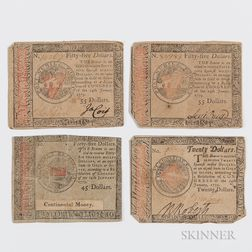Four January 14, 1779 Continental Currency Notes