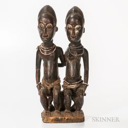 Baule-style Carved Wood Seated Male and Female Figures