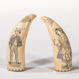 Two Polychrome Decorated Scrimshaw Whale's Teeth