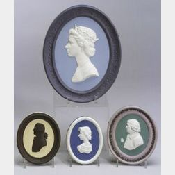 Four Wedgwood Solid Jasper Self-Framed Oval Portrait Plaques