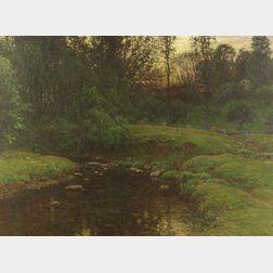 John Joseph Enneking (American, 1841-1916)  Woodland Stream