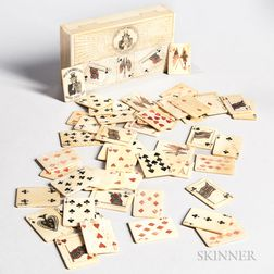 Set of Miniature Incised Patriotic Bone Playing Cards in a Box