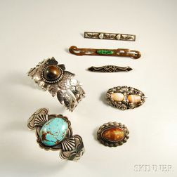 Group of Arts & Crafts Sterling Silver and Silver-plated Native American Jewelry