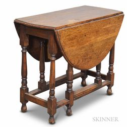 William and Mary-style Oak Gate-leg Drop-leaf Table