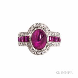 Platinum, Ruby, and Diamond Ring