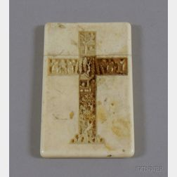 Asian Carved Crucifix and Cartouche Decorated Ivory Card Case