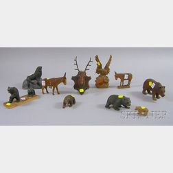 Ten Carved and Painted Wood Animals