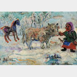 David Davidovich Burliuk (Ukrainian/American, 1882-1967)      Farmer with Cow and Horse