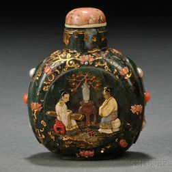 Inlaid Art Glass Snuff Bottle