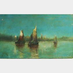 Anglo/American School, 19th Century      Sailboats at Dusk.