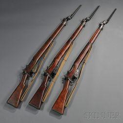 Three British Enfield No. 4 Mark I Bolt Action Rifles with Bayonets