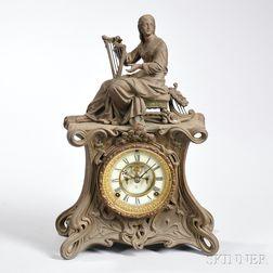 Ansonia Art Nouveau Cast Metal Mantel Clock