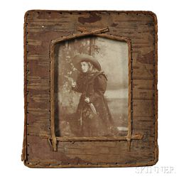 Two Old West Cabinet Cards in Period Birch Bark Frames: Girl Shooter and Seminole Indian Girl
