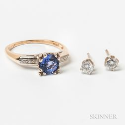 14kt Gold, Tanzanite, and Diamond Ring and a Pair of Diamond Earstuds