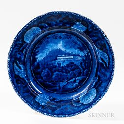 "Staffordshire Historical Blue Transfer-decorated ""Pine Orchard House/Catskill Mountains"" Dinner Plate"