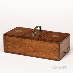 Edwardian Silver-plate-bound Oak Box
