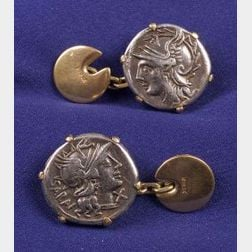 Antique 18kt Gold and Ancient Coin Cuff Links, Wiese