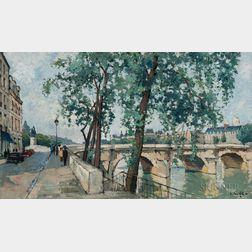 Constantine Kluge (French, 1912-2003)      The Quai de l'Horloge Near the Pont Neuf, Paris