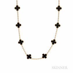 """Van Cleef & Arpels 18kt Gold and Onyx """"Alhambra"""" Necklace"""