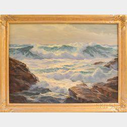 William Columbus Ehrig (American, 1892-1969)      Rough Seas on a Rocky Coast