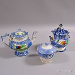 Three Pieces of Blue Peafowl-decorated Spatterware