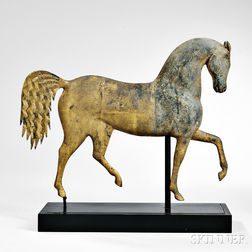 "Small Sheet Copper and Zinc ""Index Horse"" Weathervane"