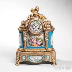 Sevres-type Porcelain-mounted Gilt-bronze Mantel Clock