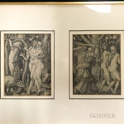 After Albrecht Dürer (German, 1471-1528)      Two Framed Facsimiles: The Fall of Man