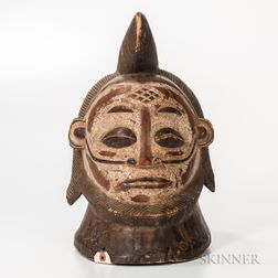 Cameroon Carved Wood and Painted Helmet Mask