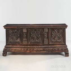 Southern European Carved Walnut Cassone