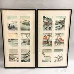 Framed Set of Japanese Calendar Prints