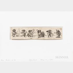 German School, 18th Century      Three Etchings of Dwarfs After Jacques Callot (French, 1592-1635)