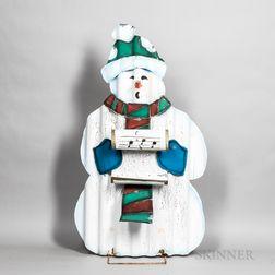 Polychrome Sheet Metal Caroling Snowman